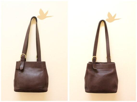 Vintage Coach Dark Brown Color Shoulder Bag .