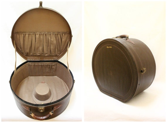 Vintage Brown Leather Hat Box