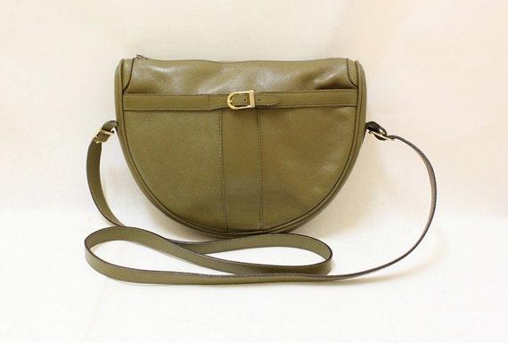 Vintage Olive Color Textured Leather Cross Body Shoulder Bag // Made in France