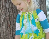 Janey Peasant Dress in Lime and Aqua- Upcycled - 6m 12m 2T 3T 4T 5T 6 7