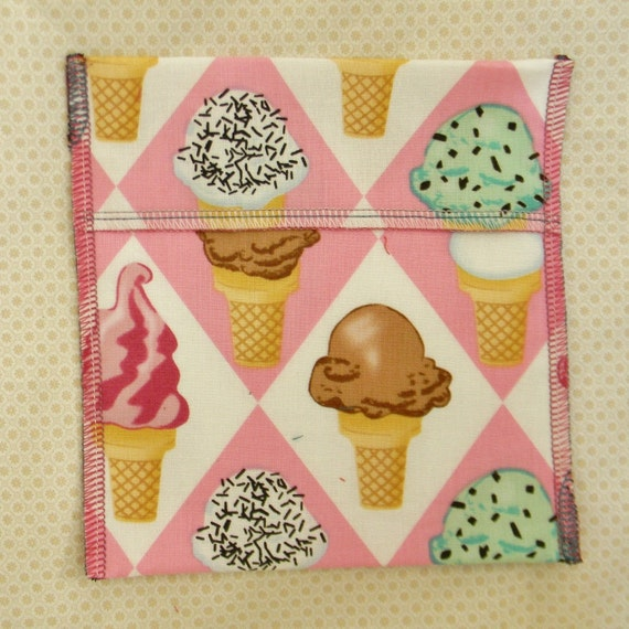 Reusable Ecofriendly Snack Bag - Ice Cream on Pink - Ready to Ship