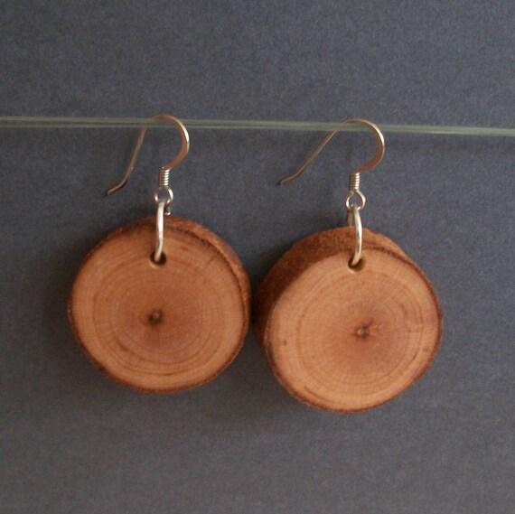 Wooden Earrings, Round Birch Wood