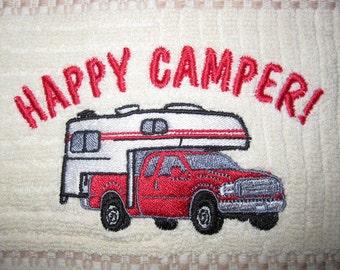 Happy camper kitchen towel exclusive camper pickup design.Truck colors black,red,slate blue,green