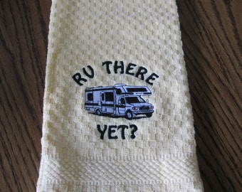 Class C rv kitchen towel  be the hit of the rv park state color-- yellow,beige check,green,brown