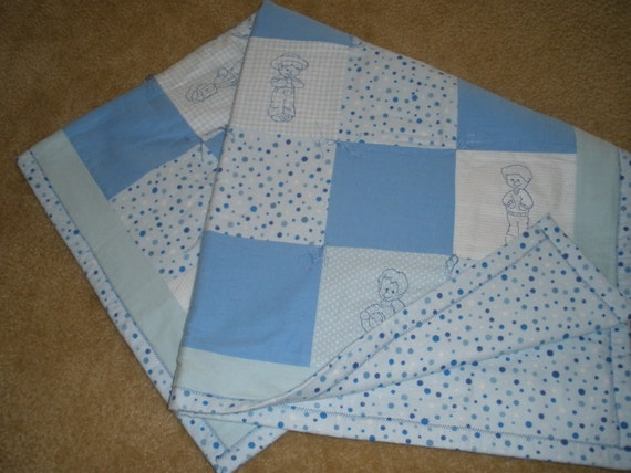 Hand Tied Little Boy Flannel Baby Quilt in Blues