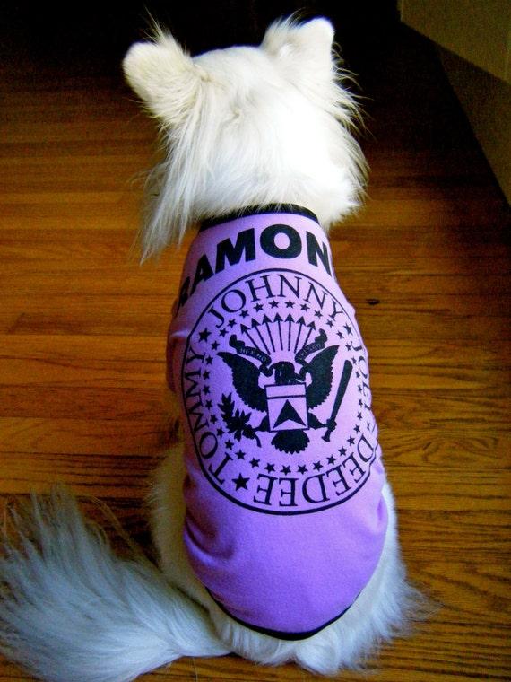 CLEARANCE Ramones bright purple Upcycled Dog Tee in Medium