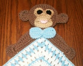 Crochet Boy Monkey Snuggle Blanket, Blanket, Lovie, Security Blanket, Baby Snuggle Blanket