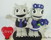 Custom Wedding Cake Topper--TCU Horned Frog College Mascot Love Couple with Circle Clear Base