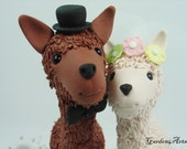 Custom Wedding Cake Topper--Happy Llama Love with Clay Grass Base