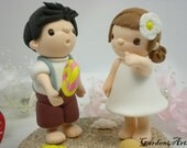 Custom Wedding Cake Topper--Love Little Prince & Princess with Clay Sand Base