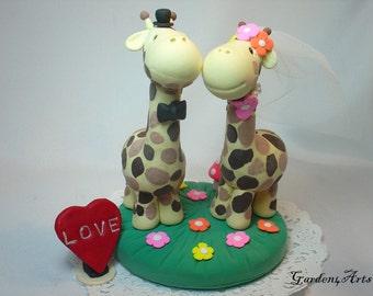Custom Wedding Cake Topper--Love Giraffe Couple with Clay Grass Base