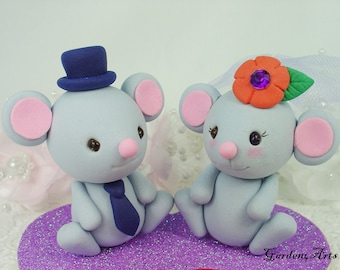 Wedding Cake Topper--Kawaii Gray Mouse with Heart Base - SPECIAL  FOR 2016