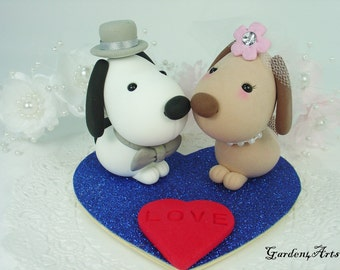 Custom Wedding Cake Topper--Kawaii Dogs Love with Heart Base - SPECIAL  FOR 2016