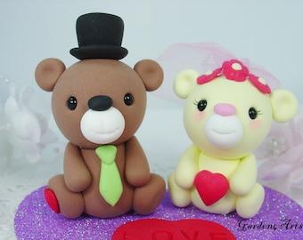 Custom Wedding Cake Topper--Kawaii Bear Love with Heart Base - SPECIAL  FOR 2016