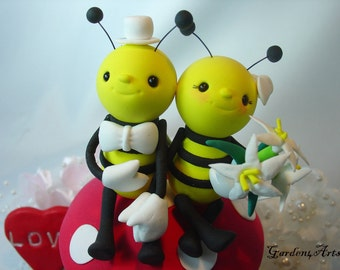Wedding Cake Topper--Bee My Love--Love Bee Couple HAND Hold  HAND with Mushroom and Grass Base