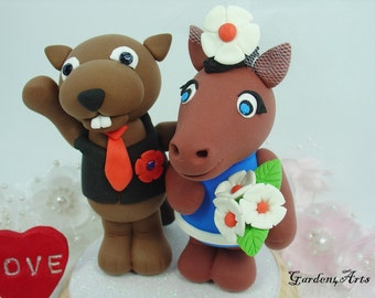 Custom Wedding Cake Topper--OSU & Boise State - Unique College Mascot Love Couple with Circle Clear Base