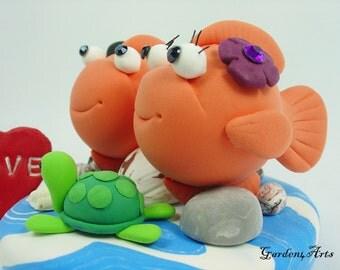 Wedding Cake Topper--Happy Gold Fish with Ocean Base--for Ocean Theme Beach Wedding