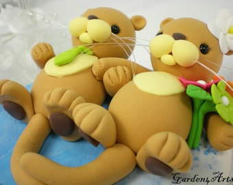 Customise Wedding Cake Topper--Sea Otter Love - HAND HOLD HAND with Ocean Base