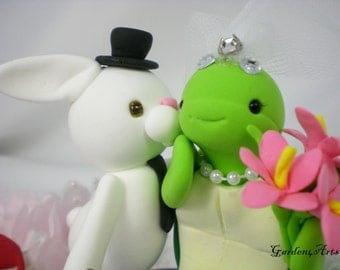 Custom Wedding Cake Topper--Love Bunny & Turtle with Sweet Kiss and circle clear base