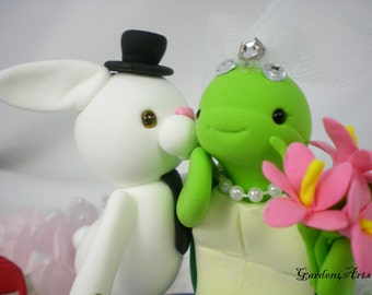 Wedding Cake Topper--Love bunny and  turtle couple with Sweet Kiss and Circle Clear Base