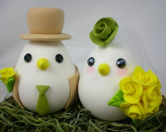 Custom Love Birds Wedding Cake Topper with Sweet Nest - the Bride Hold a Yellow Rose Bouquet(Choice of Color)