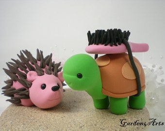 Custom Wedding Cake Topper--Turtle & Hedgehog Love with Sand Base - LOVE can find the way--NEW