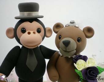 Custom Wedding Cake Topper--Love Gorillas & Grizzly Bear with circle clear base