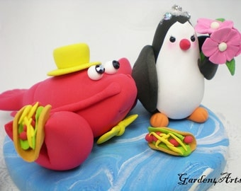 Custom lobster & penguin Love Wedding Cake Topper with taco and clay ocean base--NEW