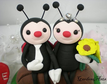 Wedding Cake Topper--Red Wing Ladybug Love HAND HOLD HAND with Sweet Log and Grass Base-customise