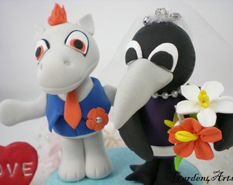 Custom Sports Team Mascot Wedding Cake Topper - Unique NFL Denver & Baltimore Love Couple with Circle Clear Base