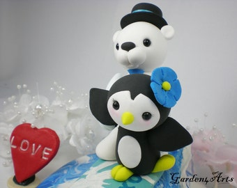 Custom wedding cake topper-Love surfing couple (polar bear & penguin) with clay ocean base