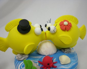 Custom Wedding Cake Topper--Love Fish Couple with Ocean Base - for Summer Ocean Theme Wedding