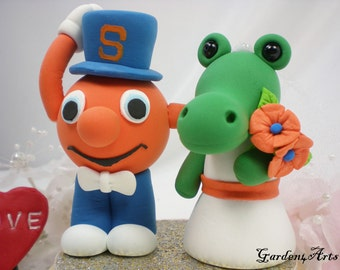 Custom Wedding Cake Topper--Florida & Syracuse Mascot with Circle Clear Base--NEW