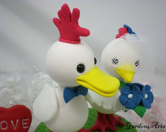 Custom Wedding Cake Topper--LOVE can find the way----Duck and Hen with Sweet Red GLOVE and Circle Clear Base