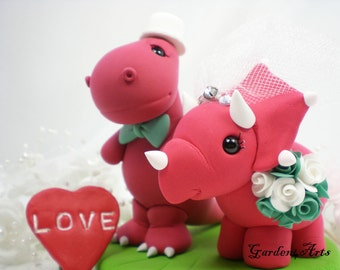 Wedding Cake Topper--Love Dino with Clay Grass Base--Custom Order