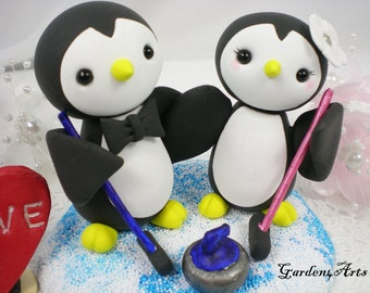 Custom Wedding Cake Topper--Love Penguin couple with Clay Ice Base
