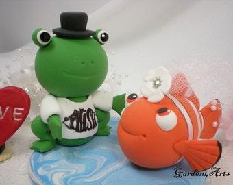 Custom Wedding Cake Topper--Love Frog & Clown Fish Couple with Ocean Base