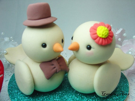 Heart Tails Bird Love Couple Wedding Cake Topper with Heart Base - SPECIAL FOR 2013