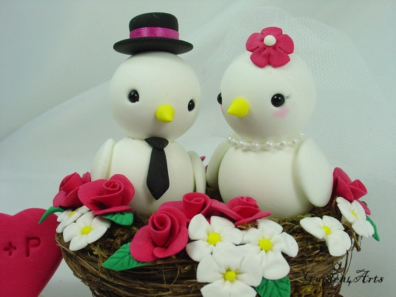 Wedding Cake Topper--Love Birds couple with Sweet Floral Nest