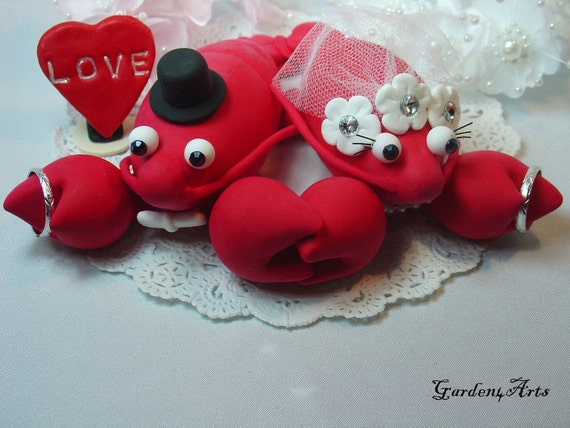 Red Lobster Love Wedding Cake Topper - HAND HOLD HAND with Ocean or Sand base for Beach Theme Wedding