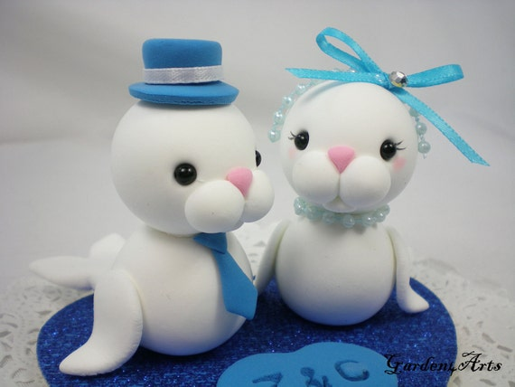 Custom Love Seal Couple Wedding Cake Topper with Heart Base - SPECIAL  FOR 2014