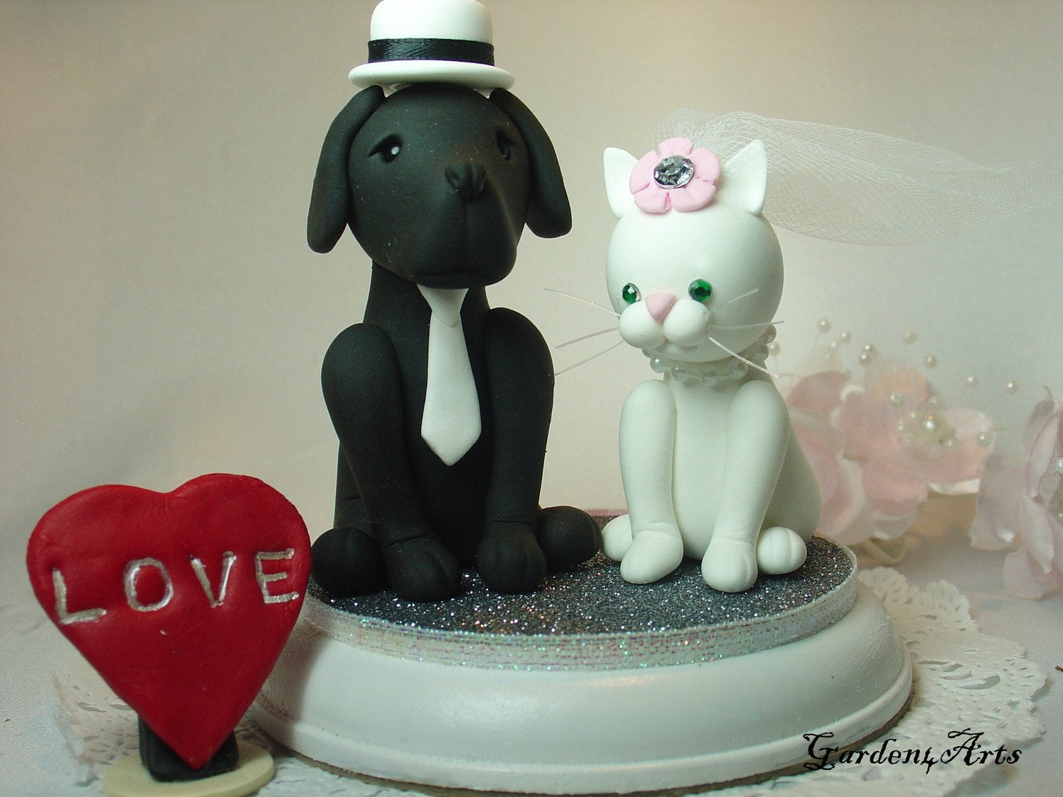 Custom Wedding Cake TopperDog & Cat Love with circle clear