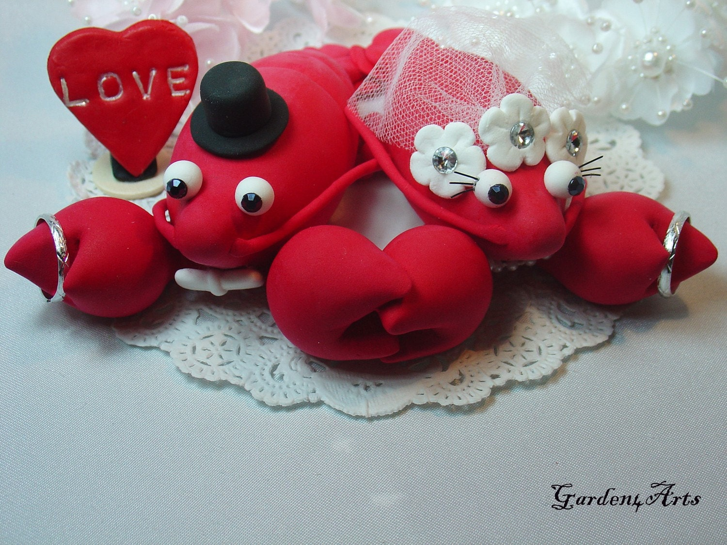 Red Lobster Love Wedding Cake Topper HAND HOLD HAND with