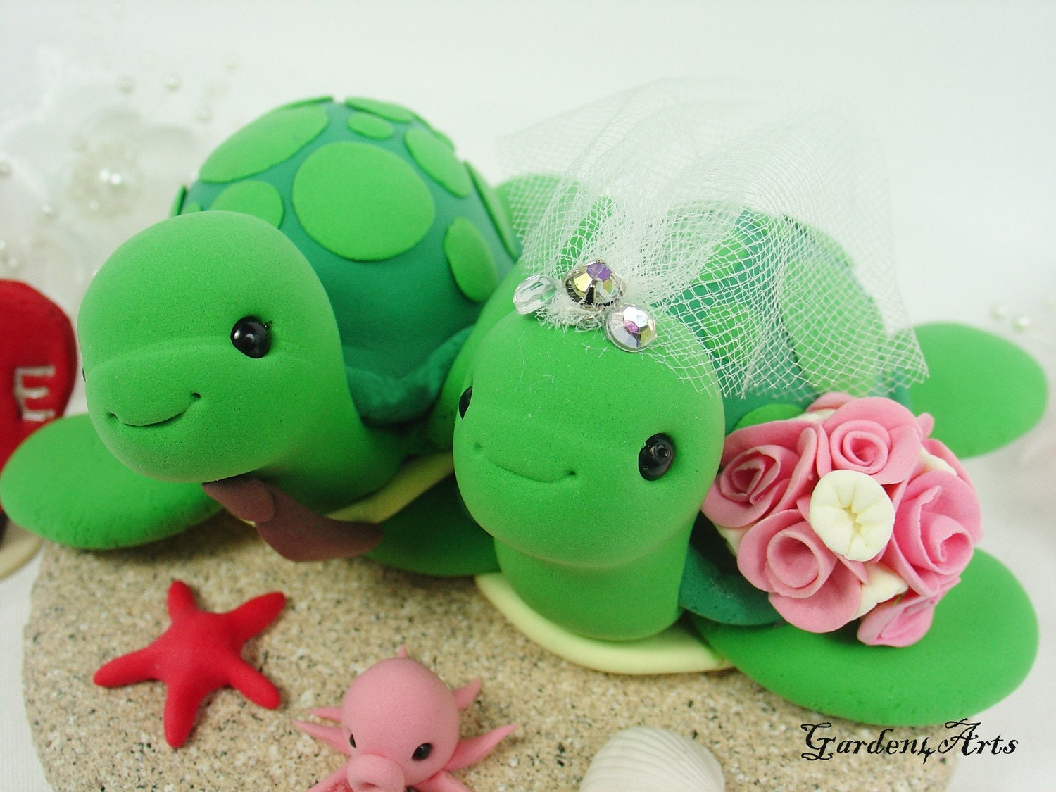 turtle wedding cake topper green sea turtle wedding cake topper with sand by garden4arts 21319