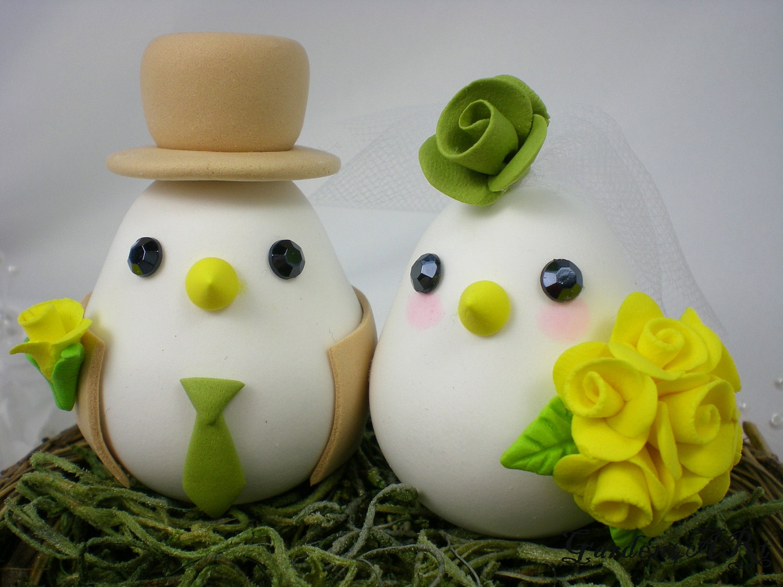 Custom Love Birds Wedding Cake Topper With Sweet Nest The