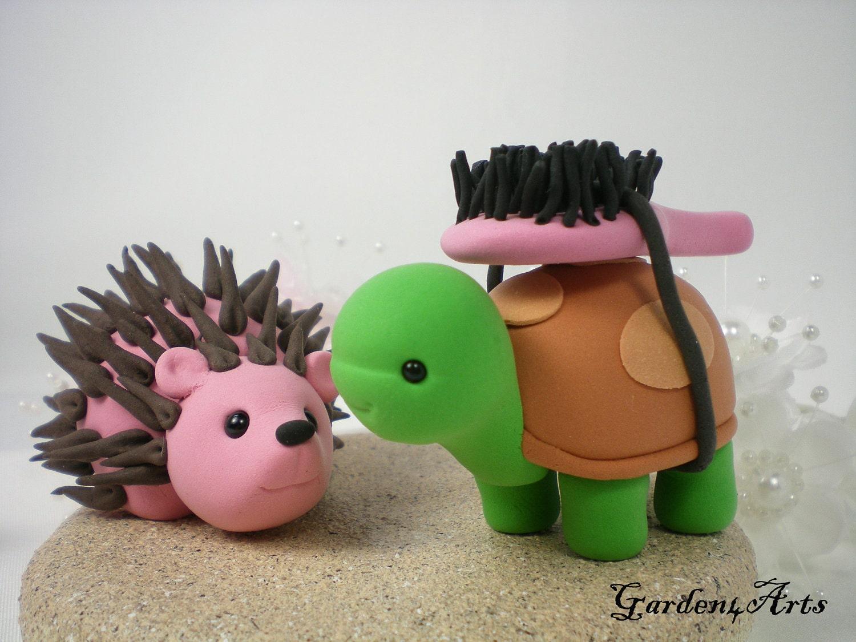 Custom Wedding Cake TopperLove Turtle & Hedgehog with Clay