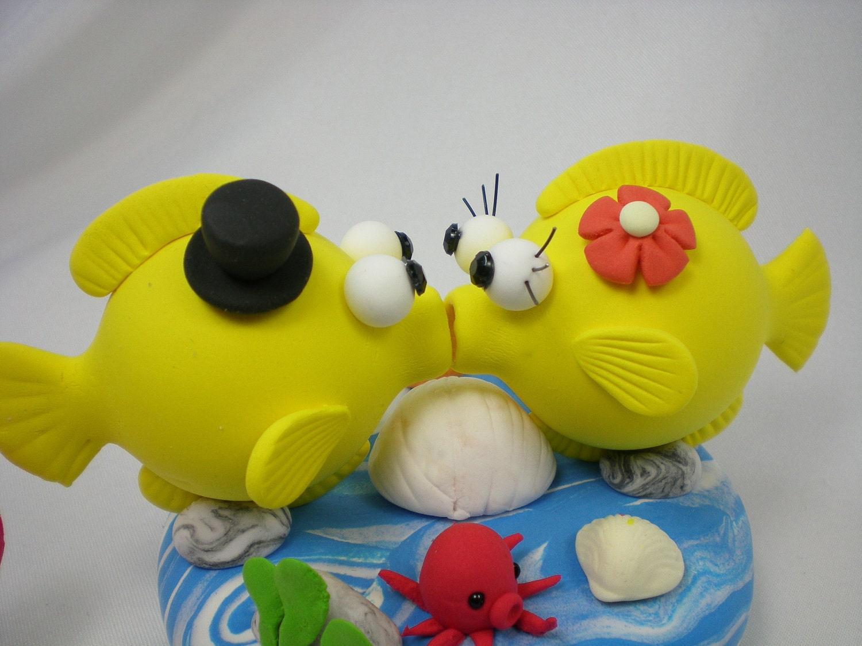 Custom Wedding Cake TopperLove Fish Couple With Ocean Base