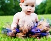 Halloween tutu. Mini orange, black and purple tutu with FREE interchangeable flower clip and headband