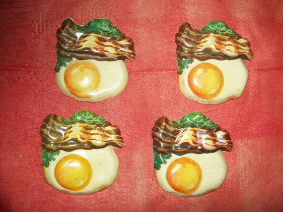 Vintage Tin Eggs and Bacon X 4 Great For Artwork Assemblage Collage Etc.