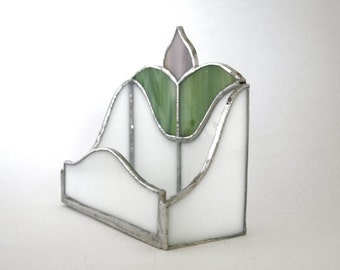 Business Card Holder - Stained Glass floral design, office gift, desk accessory, boss gift